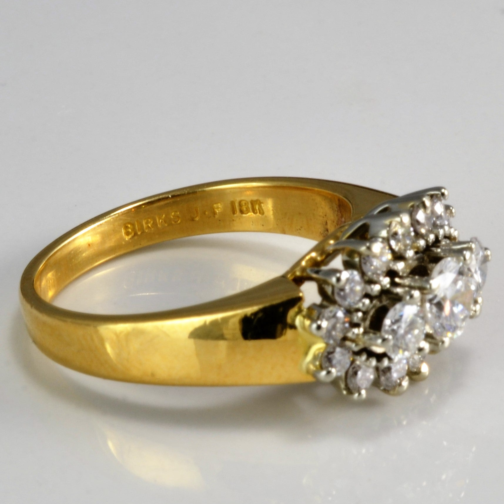 """Birks"" Cluster Diamond Engagement Ring 