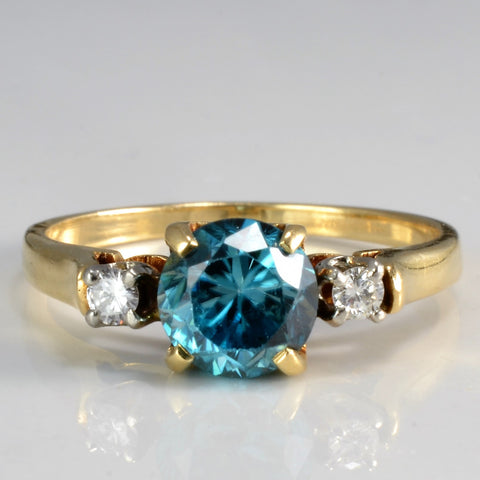 """Birks"" Three Stone Diamond & Blue Zircon Ring 