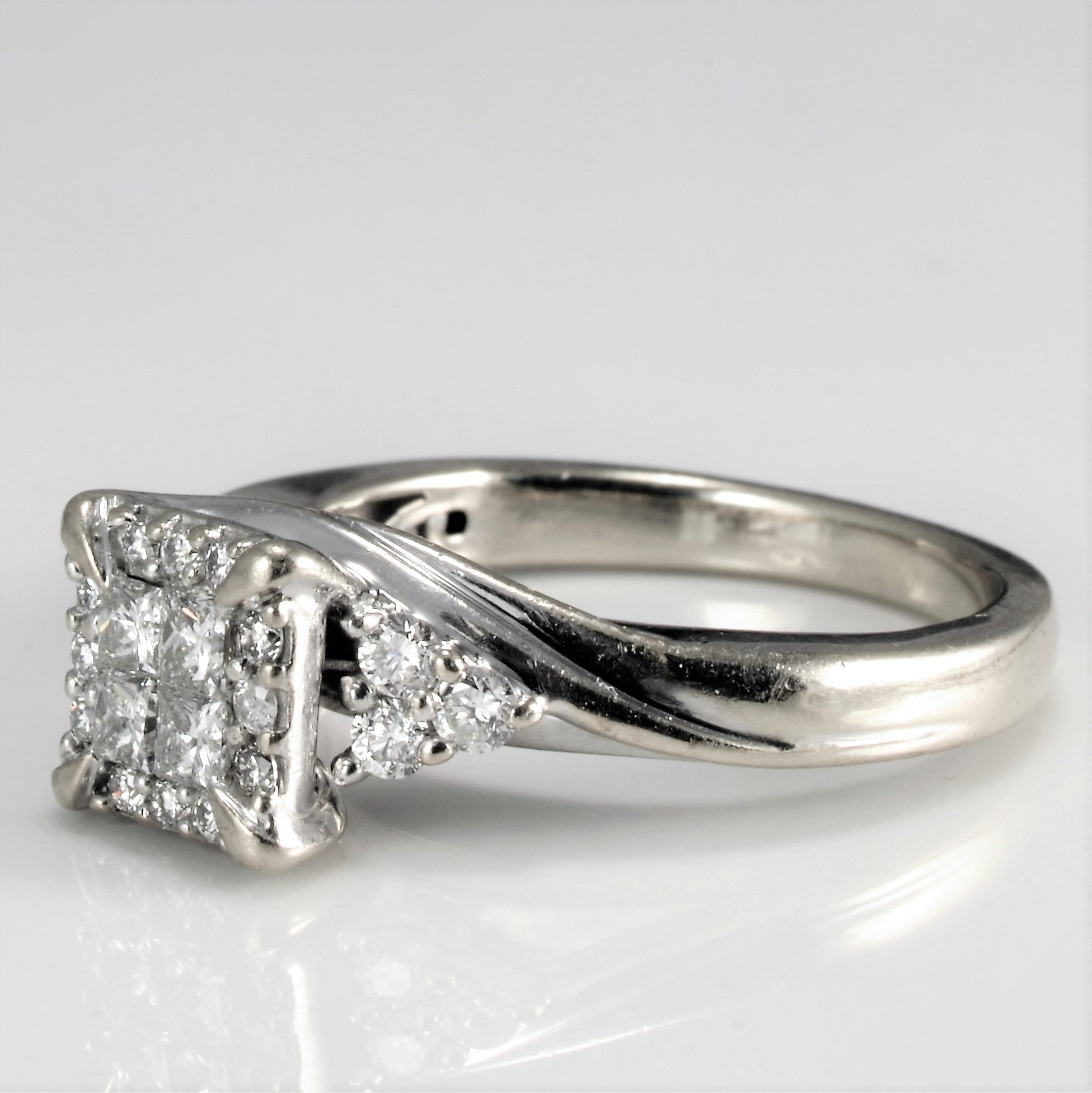 High Set Cluster Diamond Engagement Ring | 0.46 ctw , SZ 5.75 |