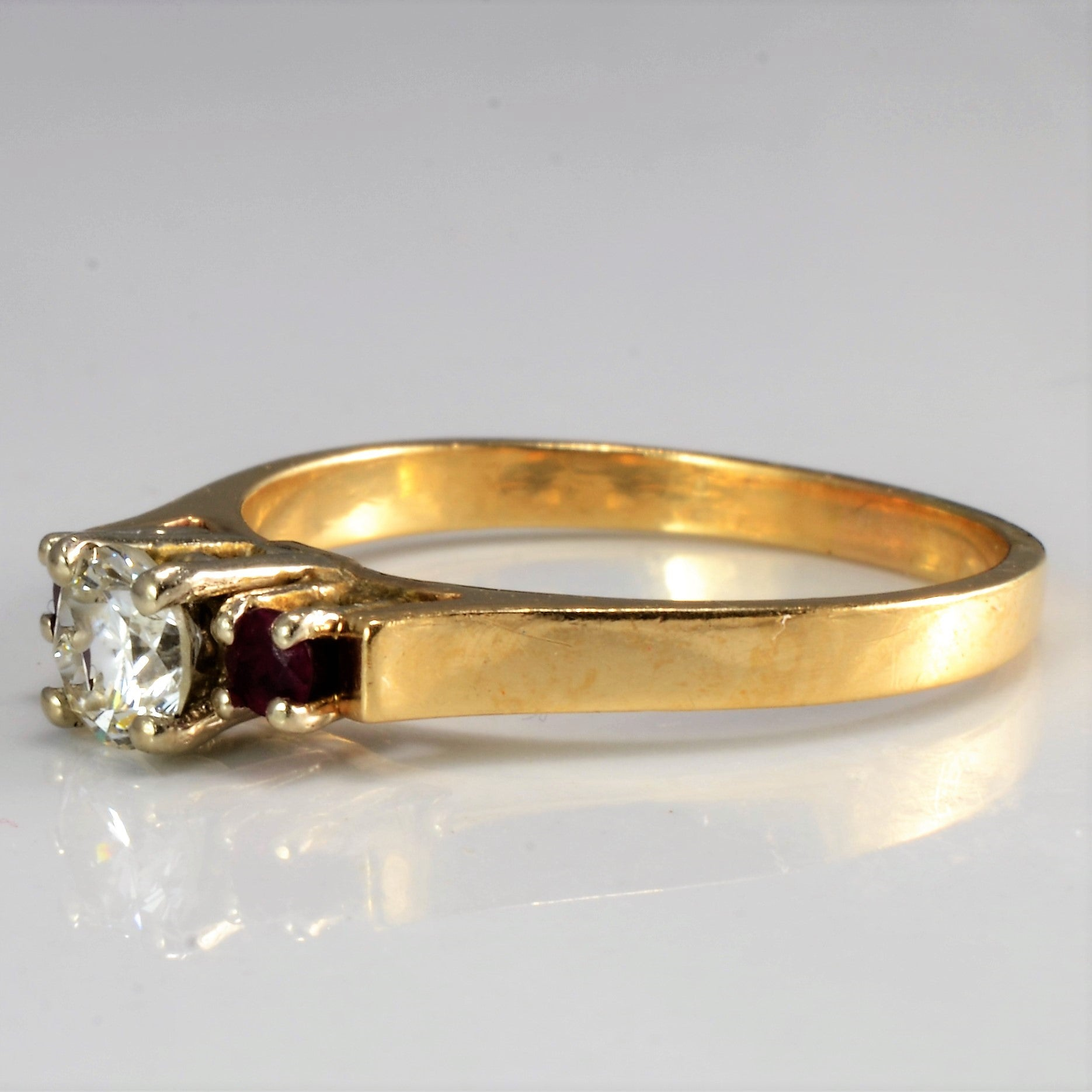 Three Stone Diamond & Ruby Ring | 0.32 ctw, SZ 6.75 |