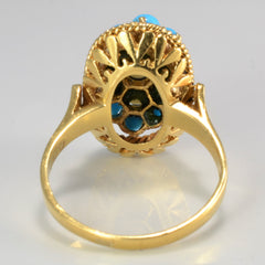 Cluster Pearl & Turquoise Vintage Ring | SZ 7.5 |