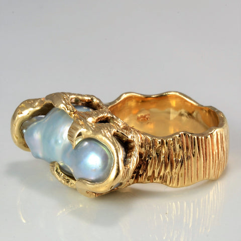 Textured Baroque Pearl Heavy Ring | SZ 6.5 |