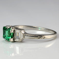 Three Stone Emerald & Diamond Ring | 0.20 ctw, SZ 6.25 |