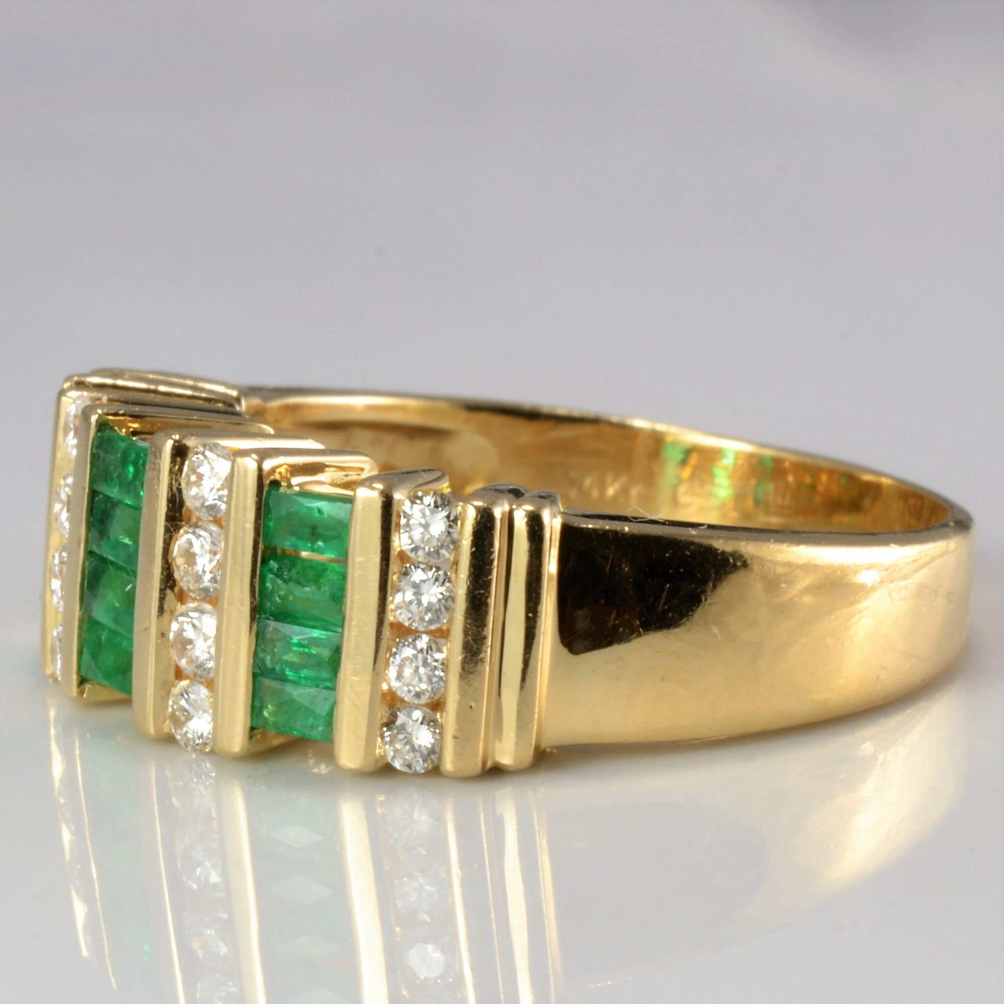 Channel Emerald & Diamond Wide Band | 0.25 ctw, SZ 7.5 |