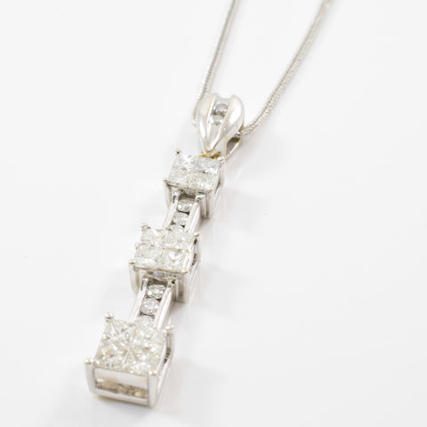 Past, Present, Future Diamond Drop Necklace | 1.40ctw | 19"