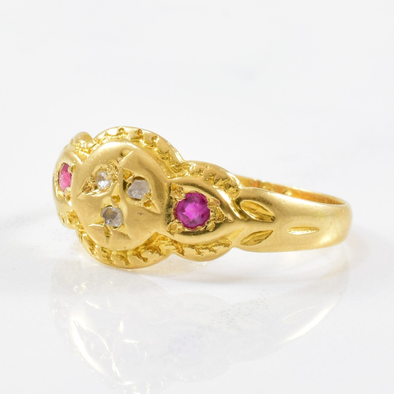 Early Victorian Ruby & Diamond Ring | 0.07ctw | SZ 5.25 |