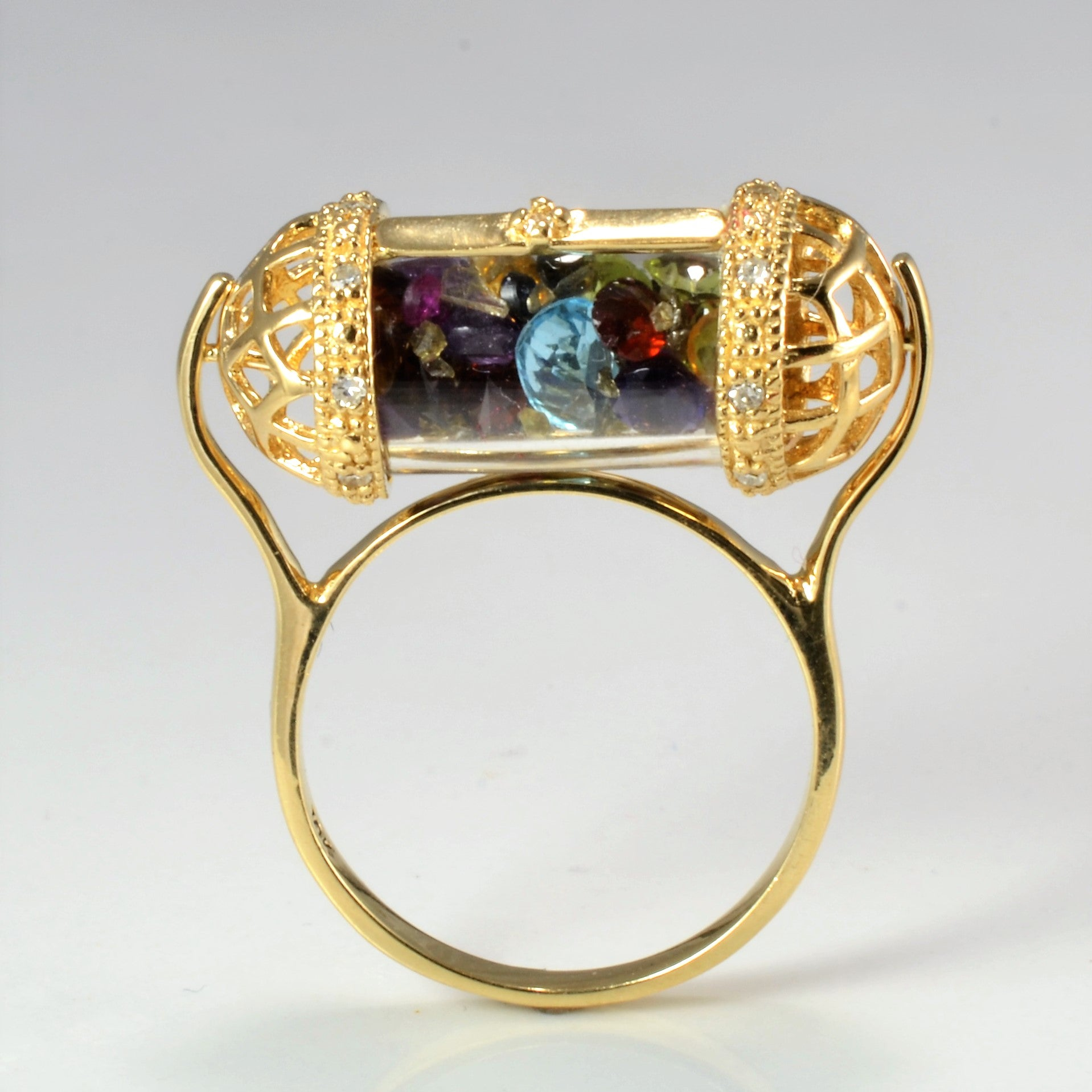 Multi- Gemstones & Diamond Unique Spinner Ring | 0.08 ctw, SZ 5.75 |