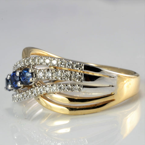 Crossover Multi Row Diamond & Sapphire Ring | 0.15 ctw, SZ 7 |