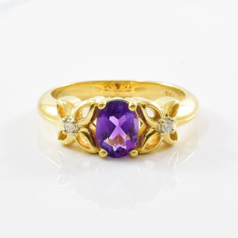 'Birks' Floral Amethyst & Diamond Ring | 0.04ctw, 0.66ct | SZ 6.25 |