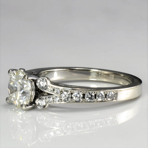 Split Shank Diamond Detailed Engagement Ring | 1.36 ctw | SI2, H | SZ 6 |