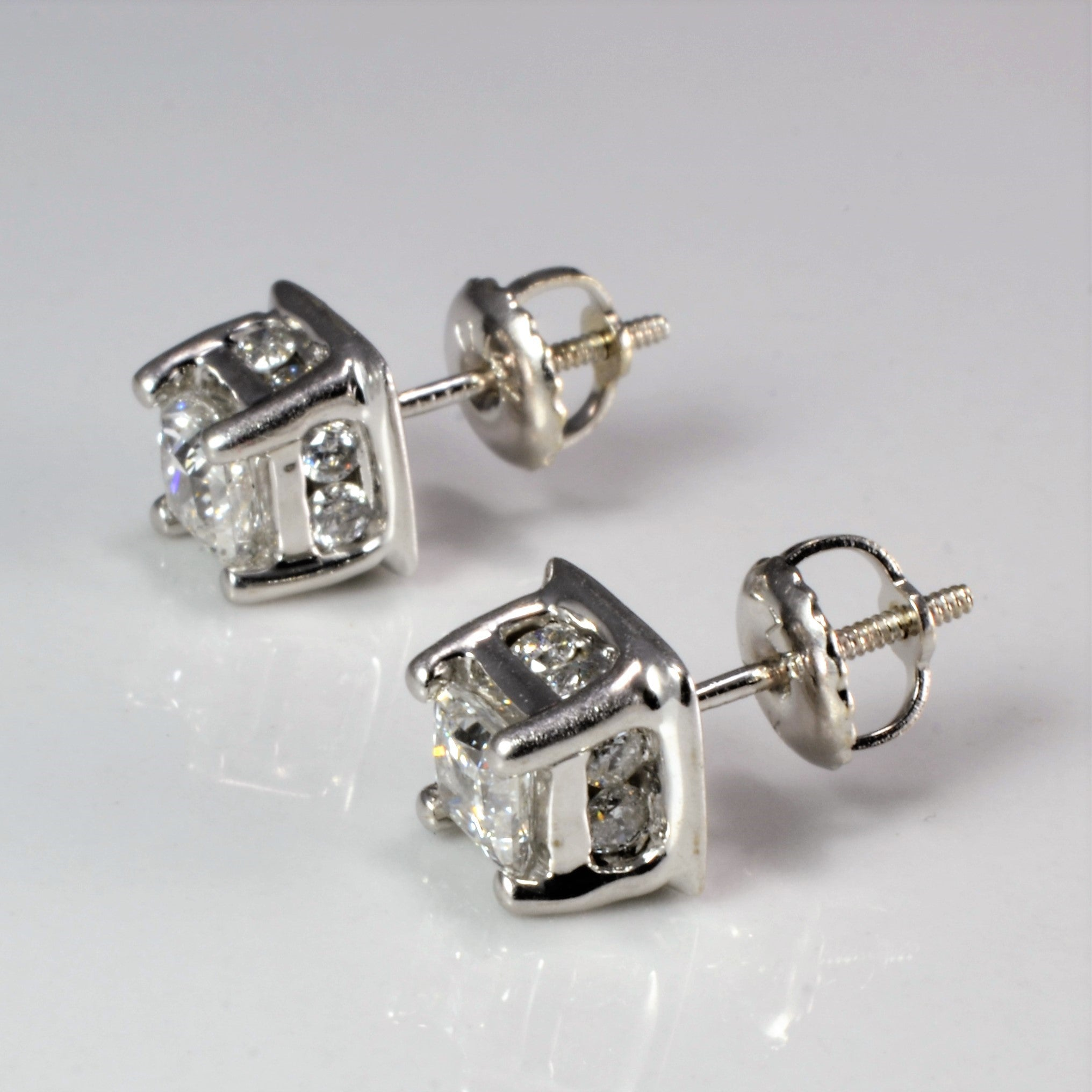 Multi- Diamond Stud Earrings | 1.08 ctw |