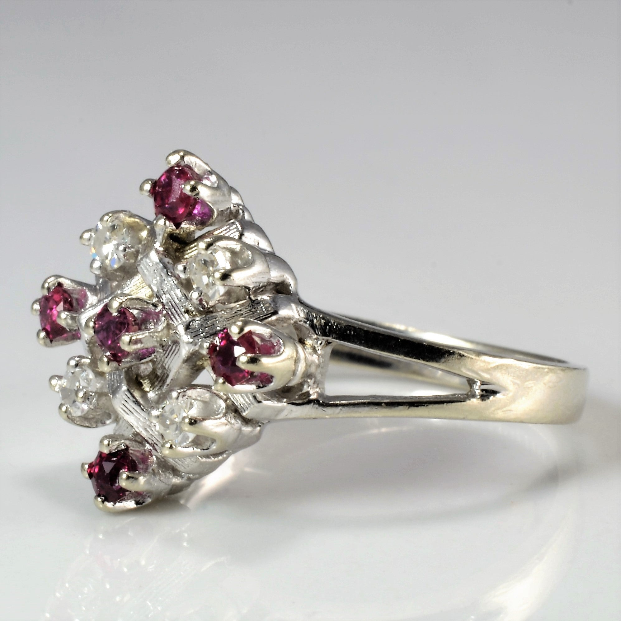 Grid Set Diamond & Ruby Ring | 0.08 ctw, SZ 5.25  |
