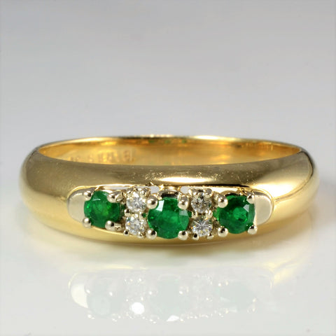 BIRKS Three Stone Emerald & Diamond Ring | 0.04 ctw, SZ 8.5 |