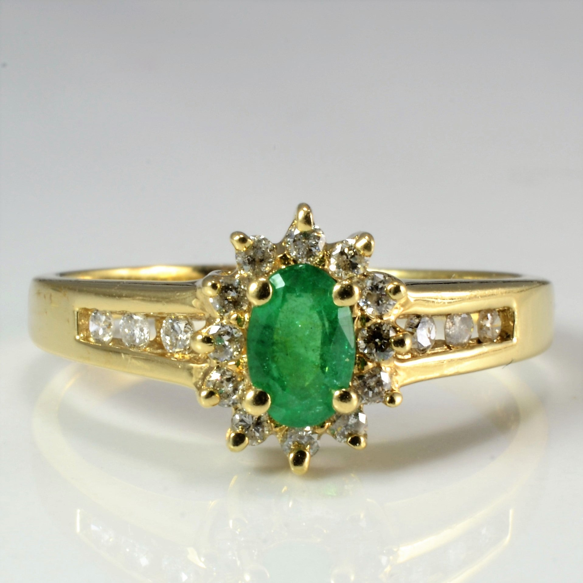 Cocktail Emerald & Diamond Ladies Ring | 0.22 ctw, SZ 9.25 |