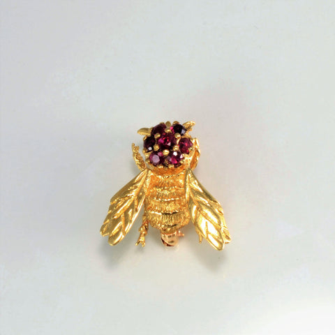 Cluster Ruby Bee Brooch