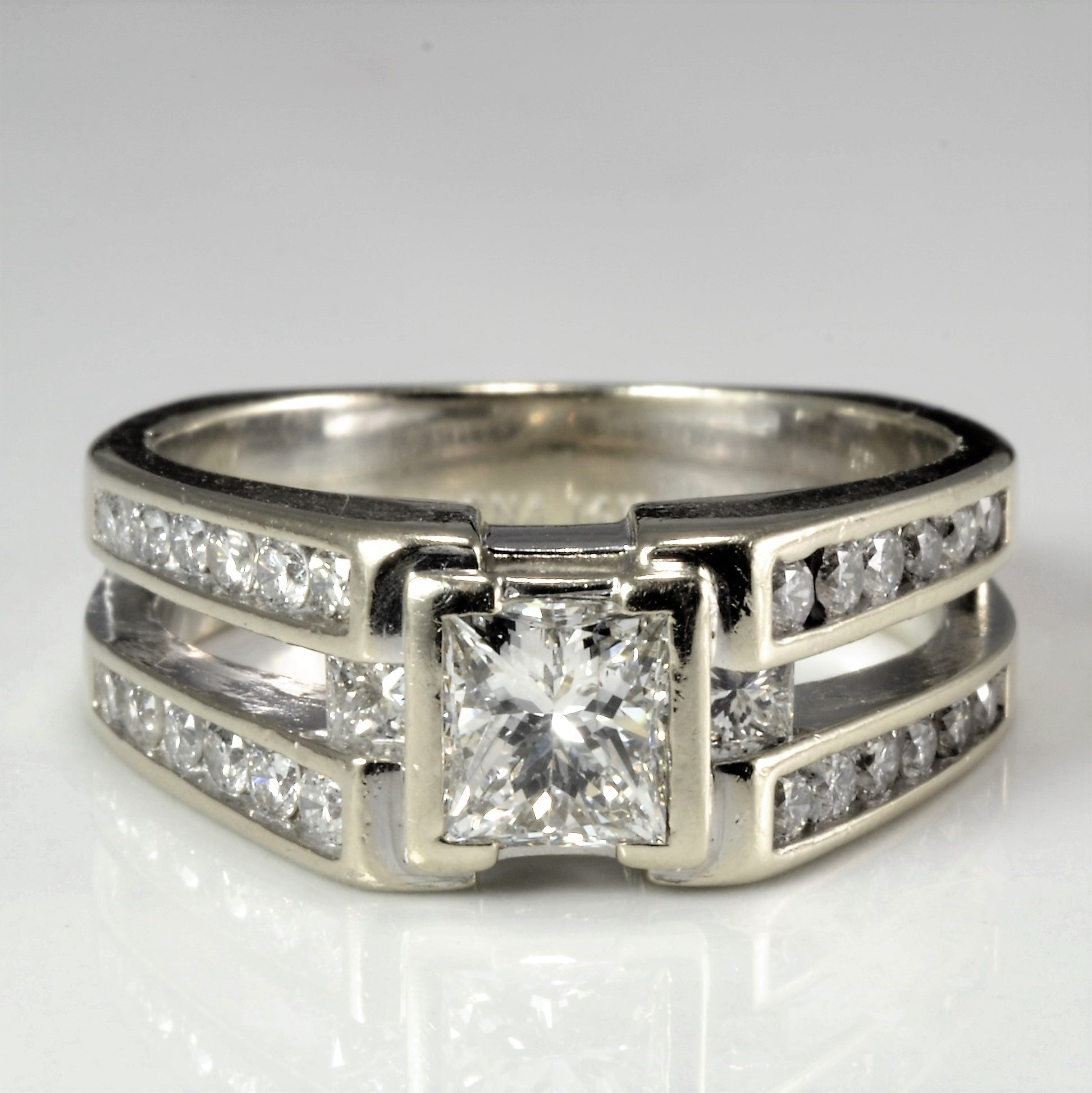 Semi Bezel Set Diamond Engagement Ring | 1.17 ctw, SZ 6.5 |