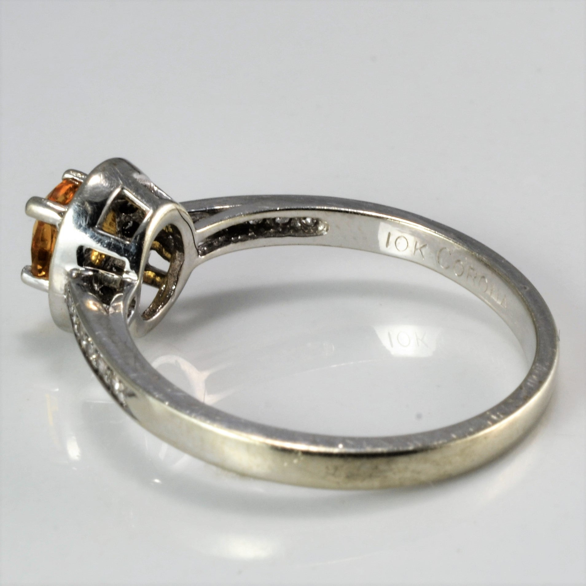 Halo Citrine & Diamond Ring | 0.18 ctw, SZ 6.75 |