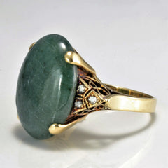High Set Amazonite & Diamond Vintage Classic Gold Ring | 0.10 ctw, SZ 7.75 |
