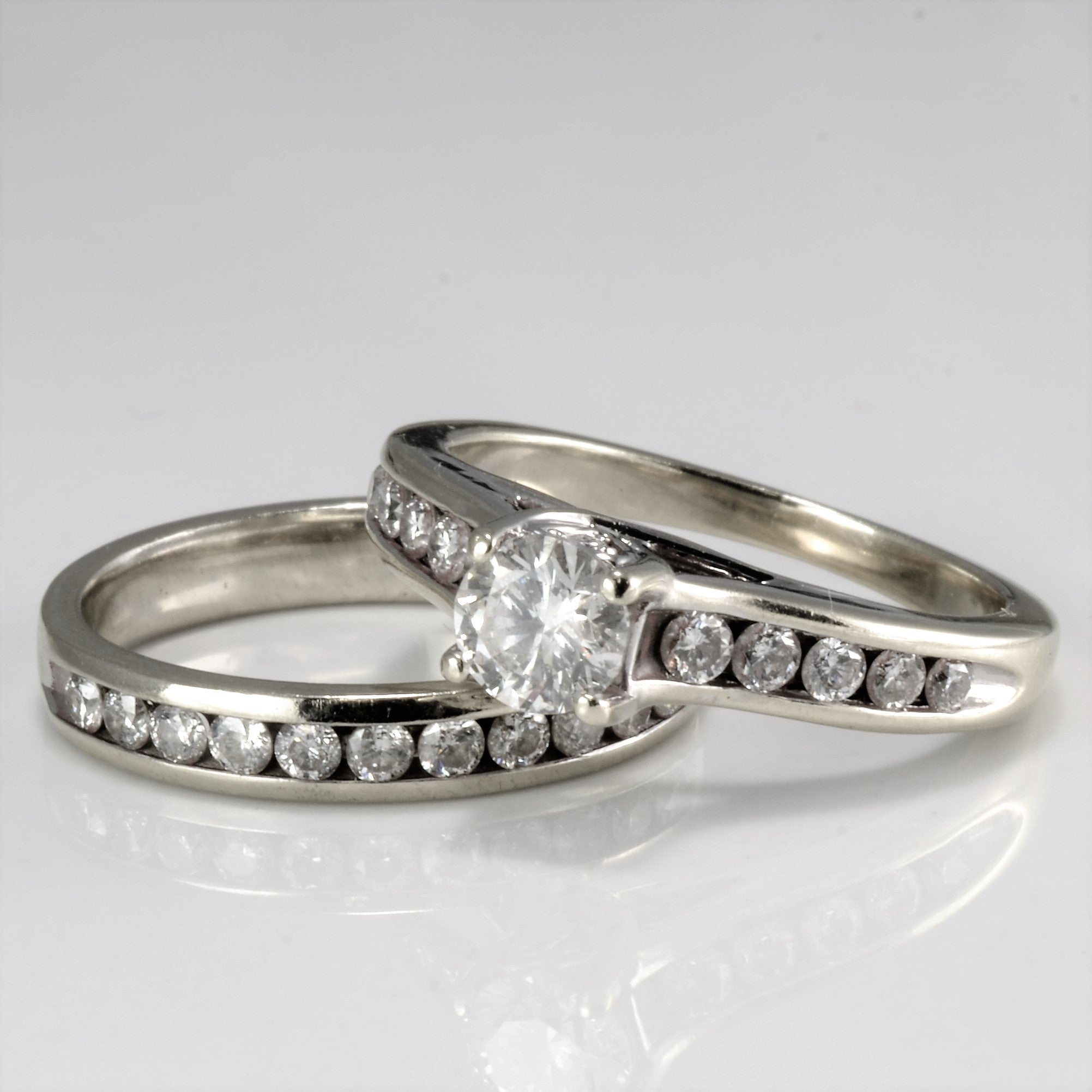 Channel Diamond Ladies Wedding Ring Set | 0.85 ctw, SZ 5.5 |