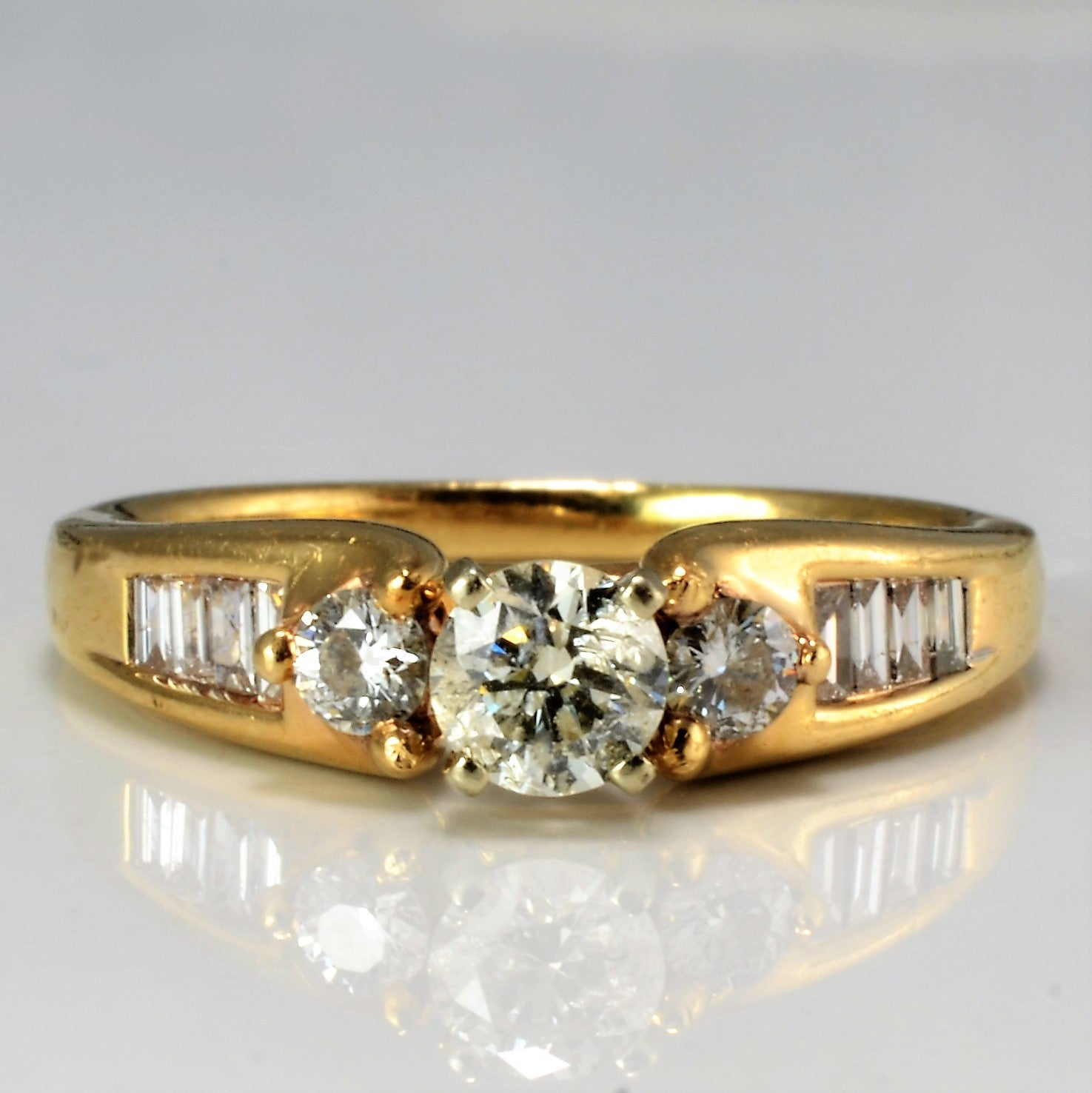 Baguette Accented Three Stone Engagement Ring | 0.58 ctw, SZ 5.25 |