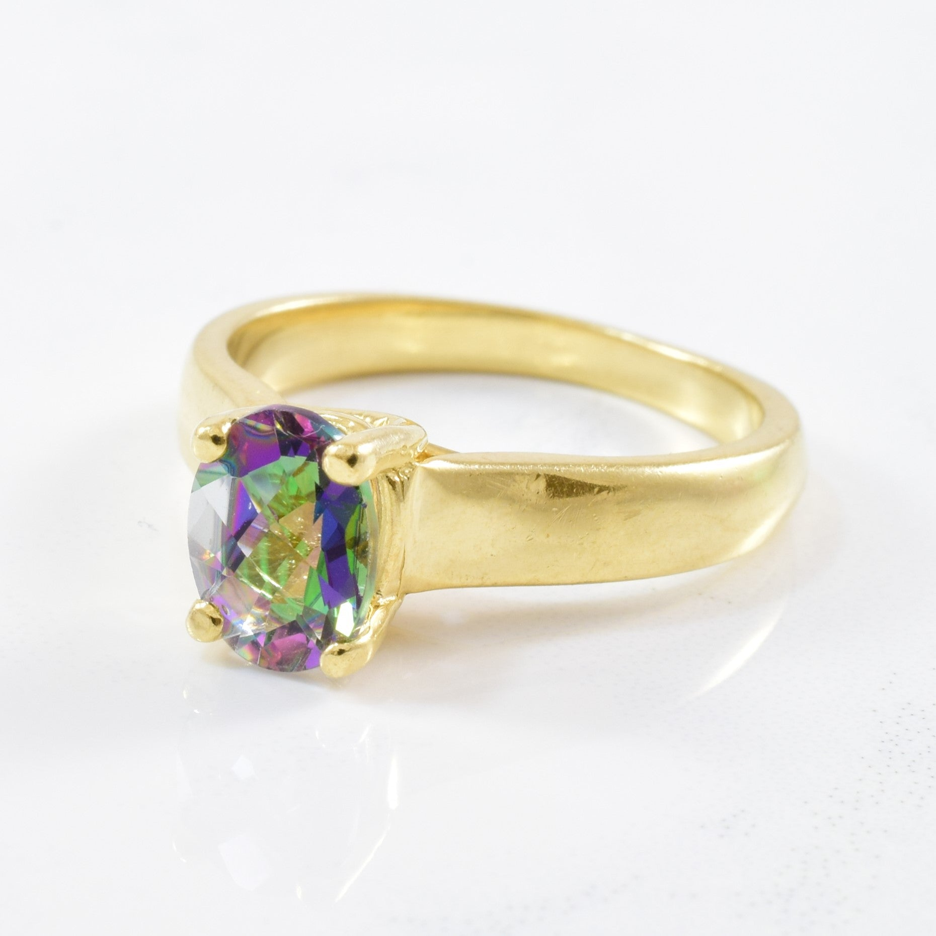 Oval Mystic Topaz Solitaire Ring | 1.35ct | SZ 7 |