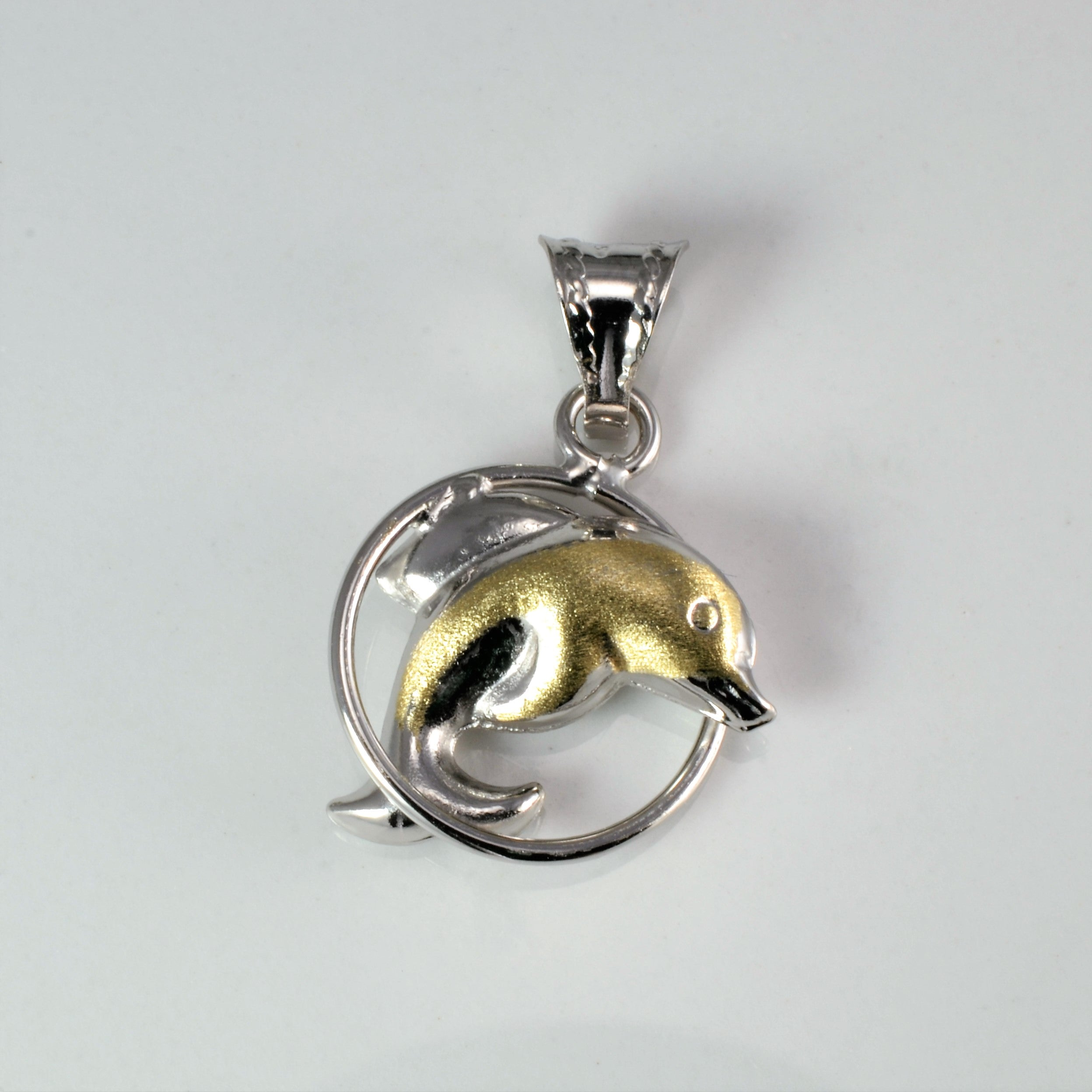 Two Tone Gold Dolphin Pendant