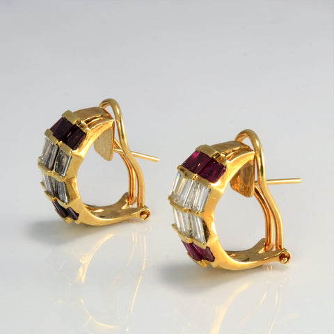 Diamond & Ruby Clip Huggie Earrings | 1.10 ctw |