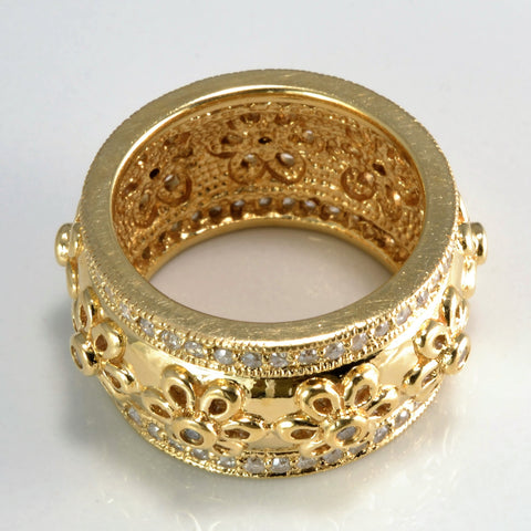 Gypsy Diamond Multi Flower Design Wide Band | 0.75 ctw, SZ 7 |