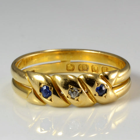 Georgian Diamond & Sapphire Double Band Ring | 0.02 ctw, SZ 6.5 |
