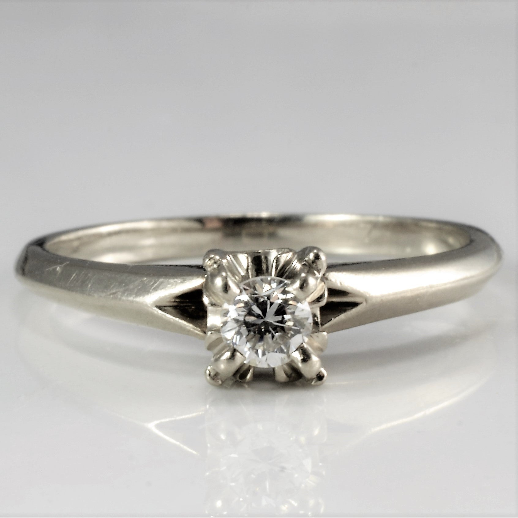 Vintage Solitaire Diamond Ring | 0.13 ct, SZ 7 |