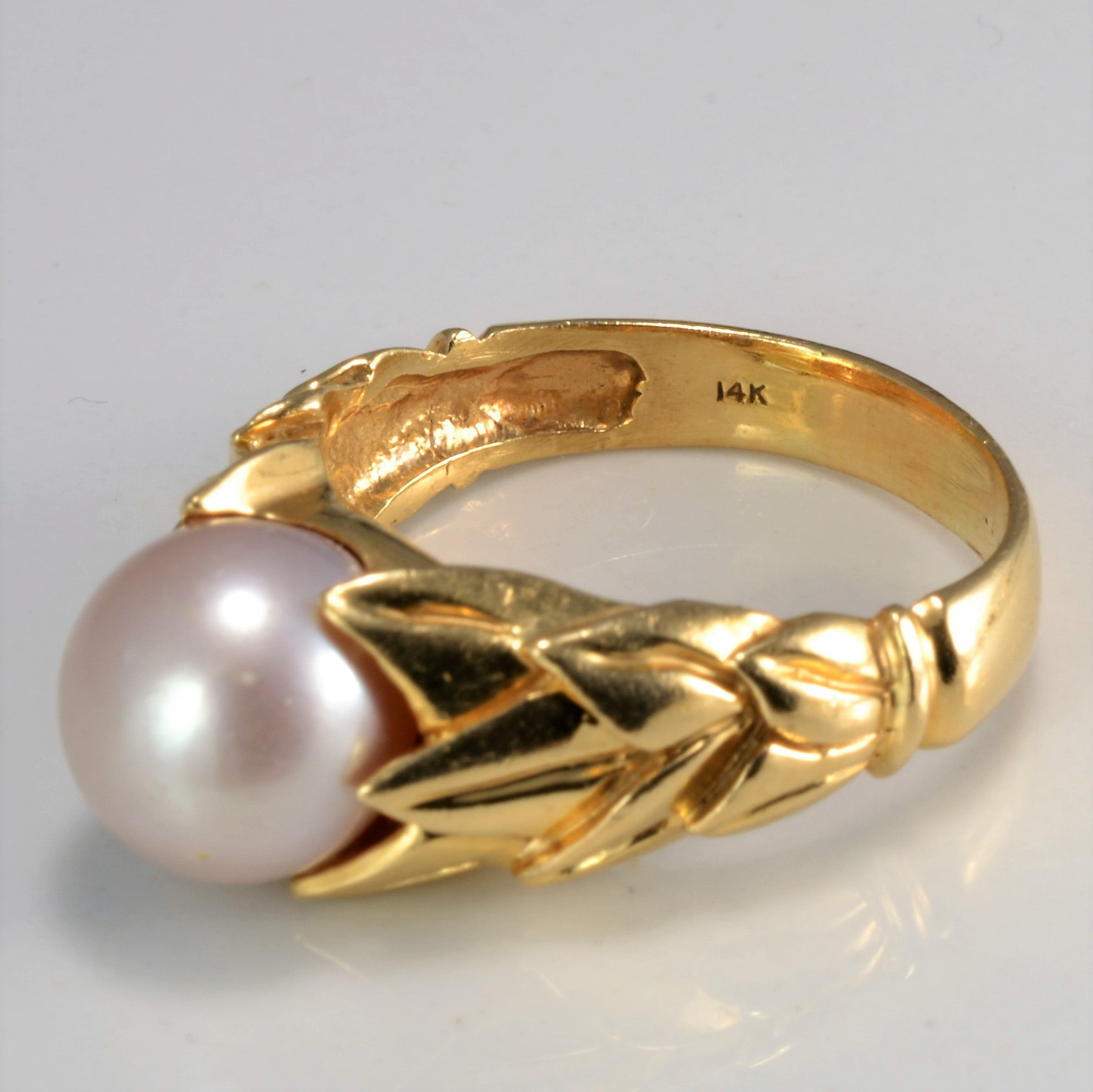Tapered Solitaire Pearl Ring | SZ 8 |