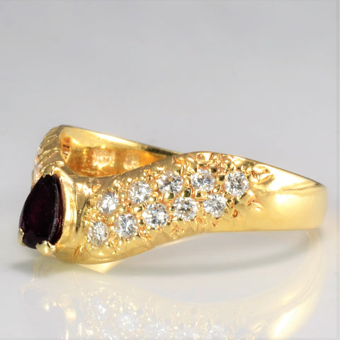 Chevron Diamond & Ruby Ring | 0.25 ctw, SZ 7.5 |