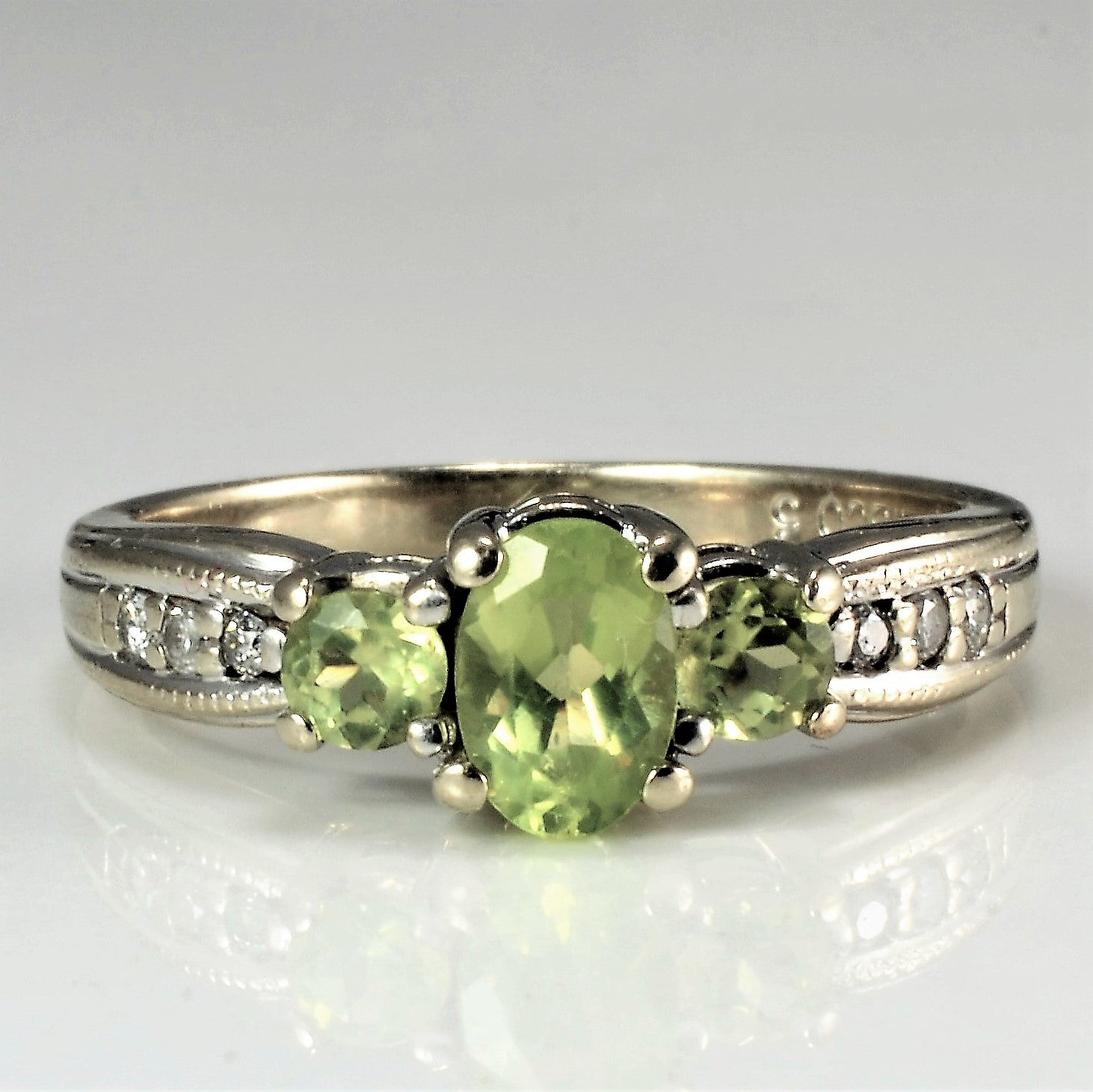 Three Stone Peridot & Diamond Ladies Ring | 0.08 ctw, SZ 5.75 |