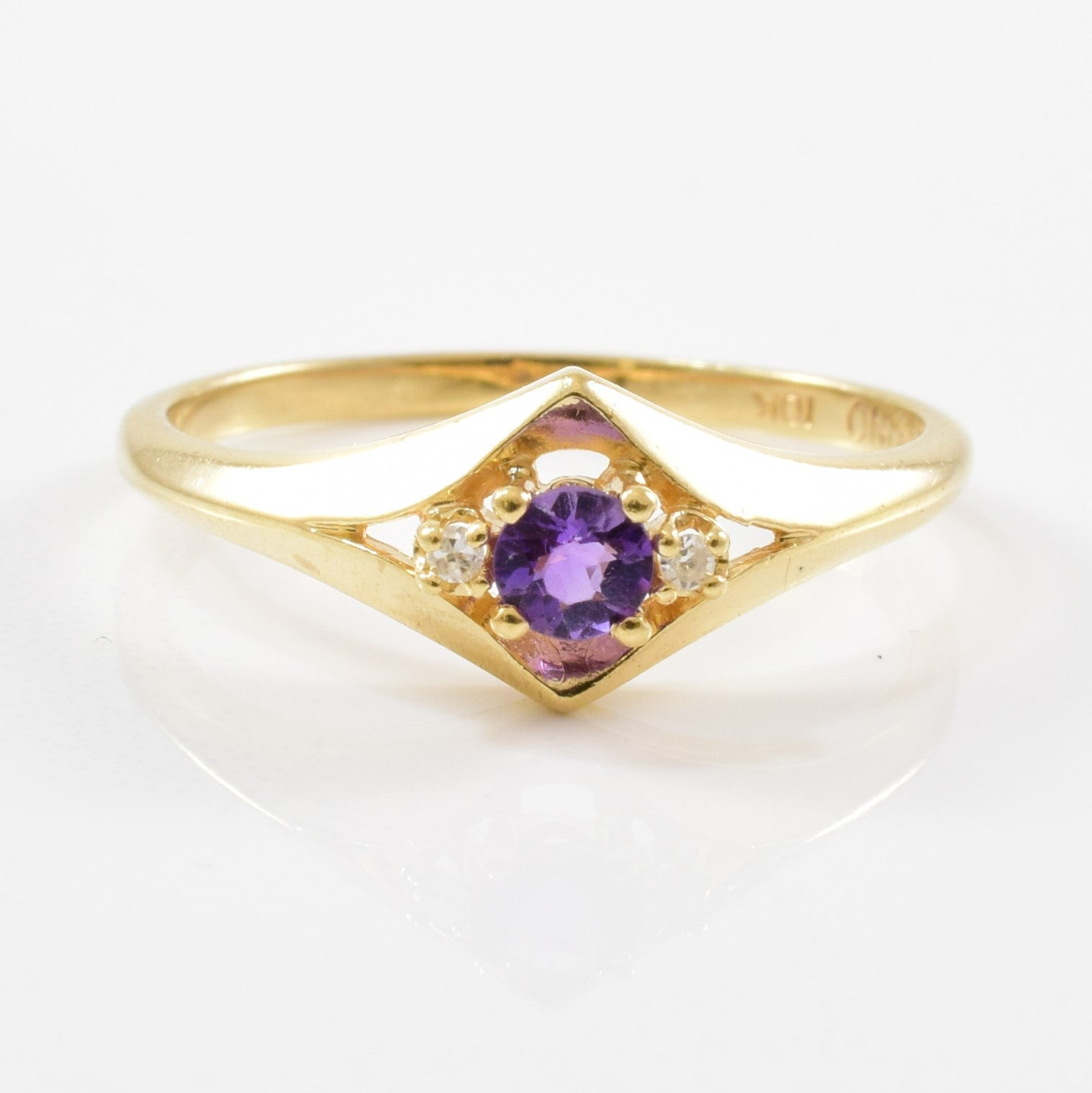Split Shank Amethyst & Diamond Ring | 0.01ctw, 0.12ct | SZ 5.75 |