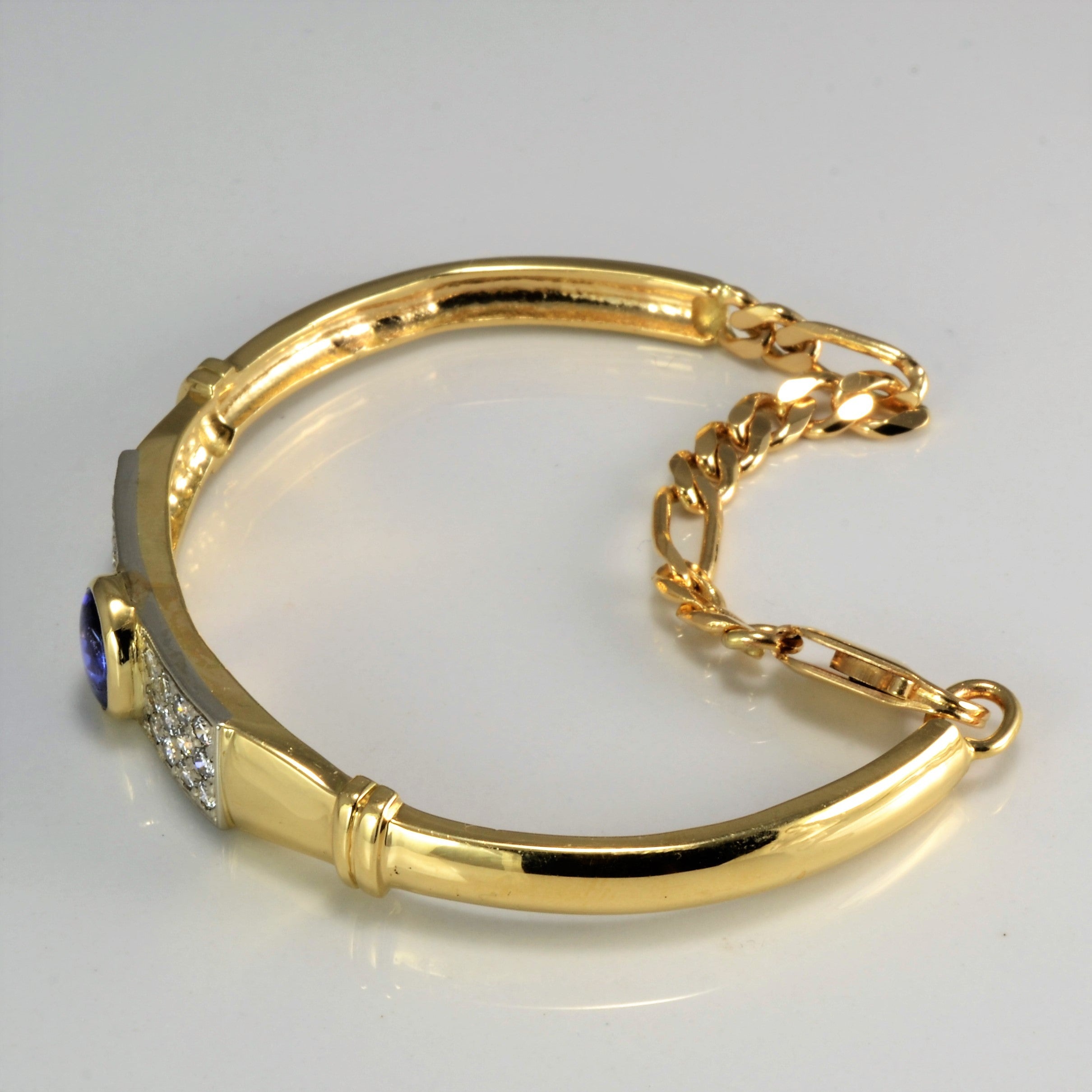 Tanzanite & Cluster Diamond Bangle Bracelet | 0.75 ctw, 7.5''|