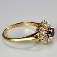 Cluster Diamond & Ruby Cocktail Ring | 0.26 ctw, SZ 8.5 |