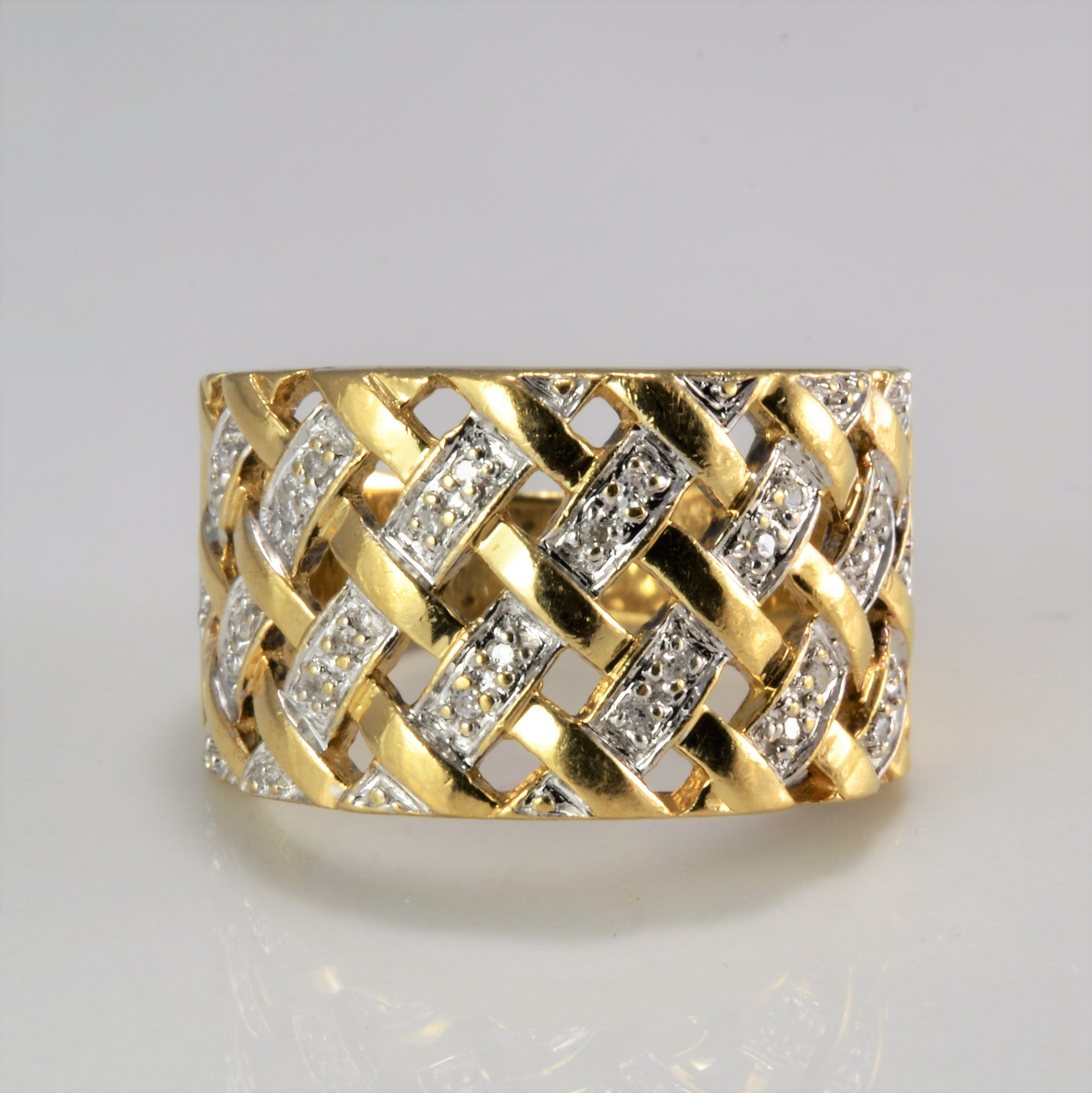 Diamond Accents Woven Wide Ladies Ring | 0.08 ctw, SZ 7 |