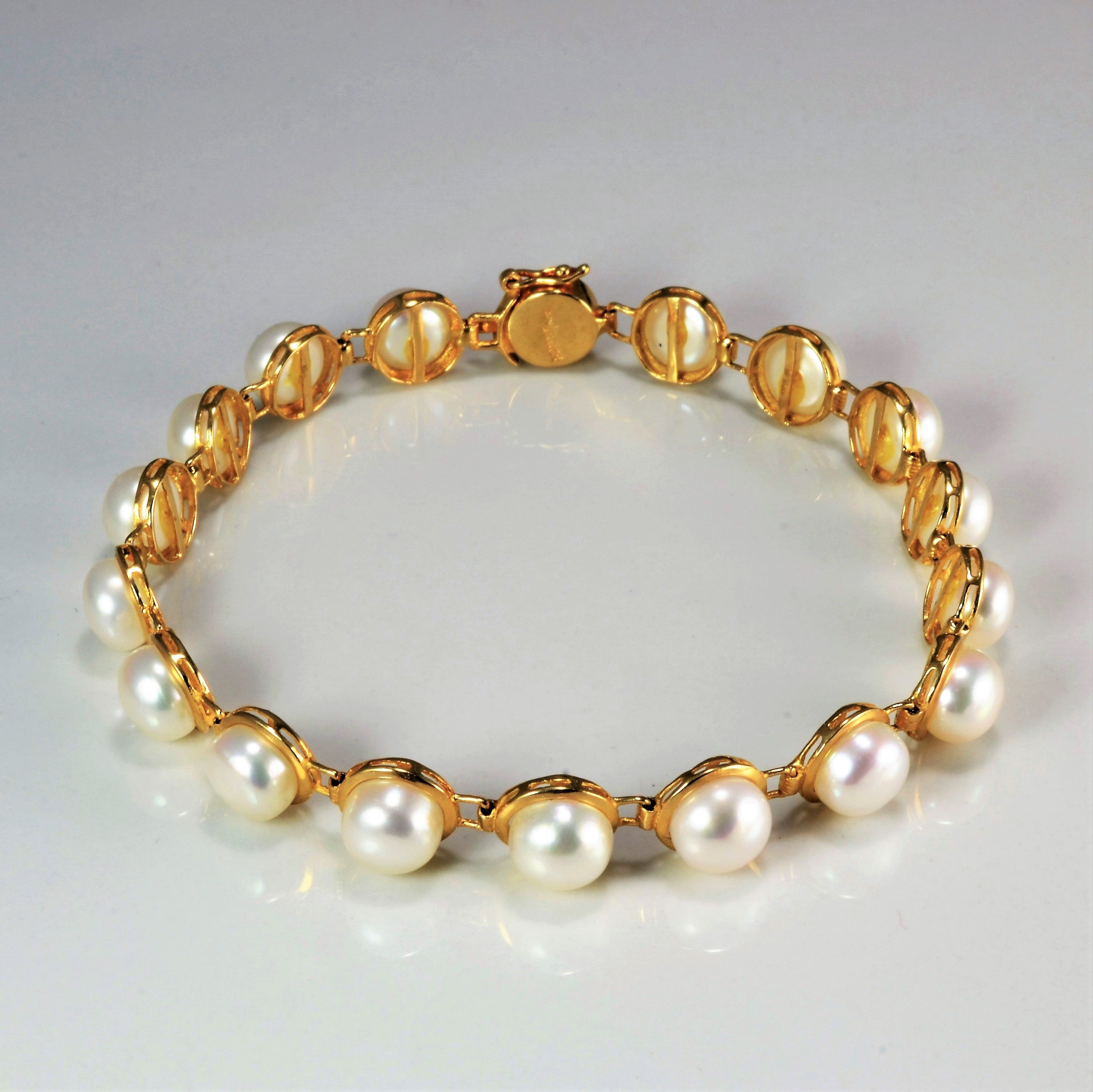 Button Pearl Gold Chain Bracelet | 7''|
