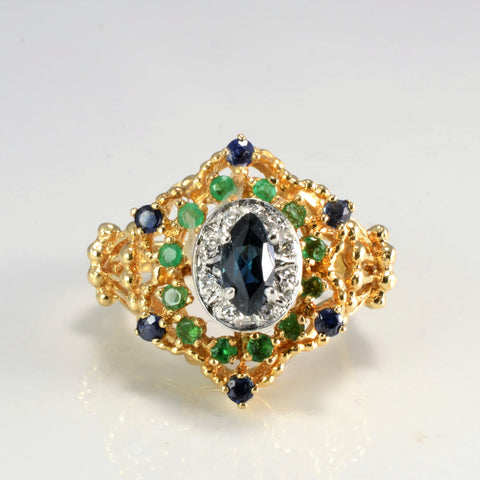 Art Nouveau Era Multi Gem Cocktail Ring | 0.04 ctw, SZ 6.75 |