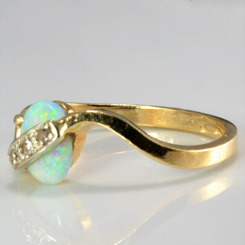 Vintage Opal & Diamond Accents Wave Ring | 0.03 ctw, SZ 5.75 |