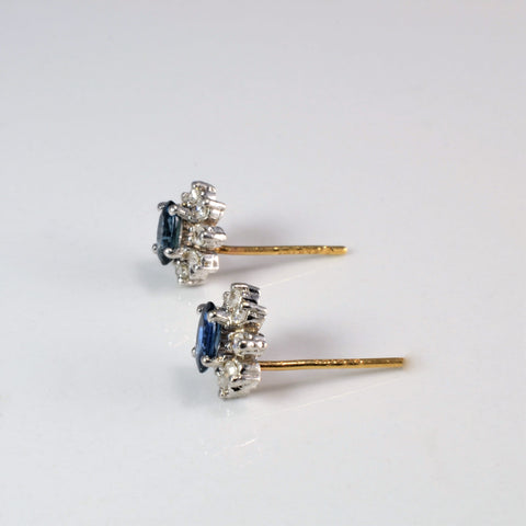 Sapphire & Diamond Cocktail Stud Earrings | 0.20 ctw |