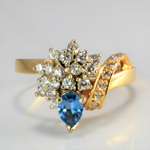 Cluster Diamond & Topaz Cocktail Ring | 0.30 ctw, SZ 10 |