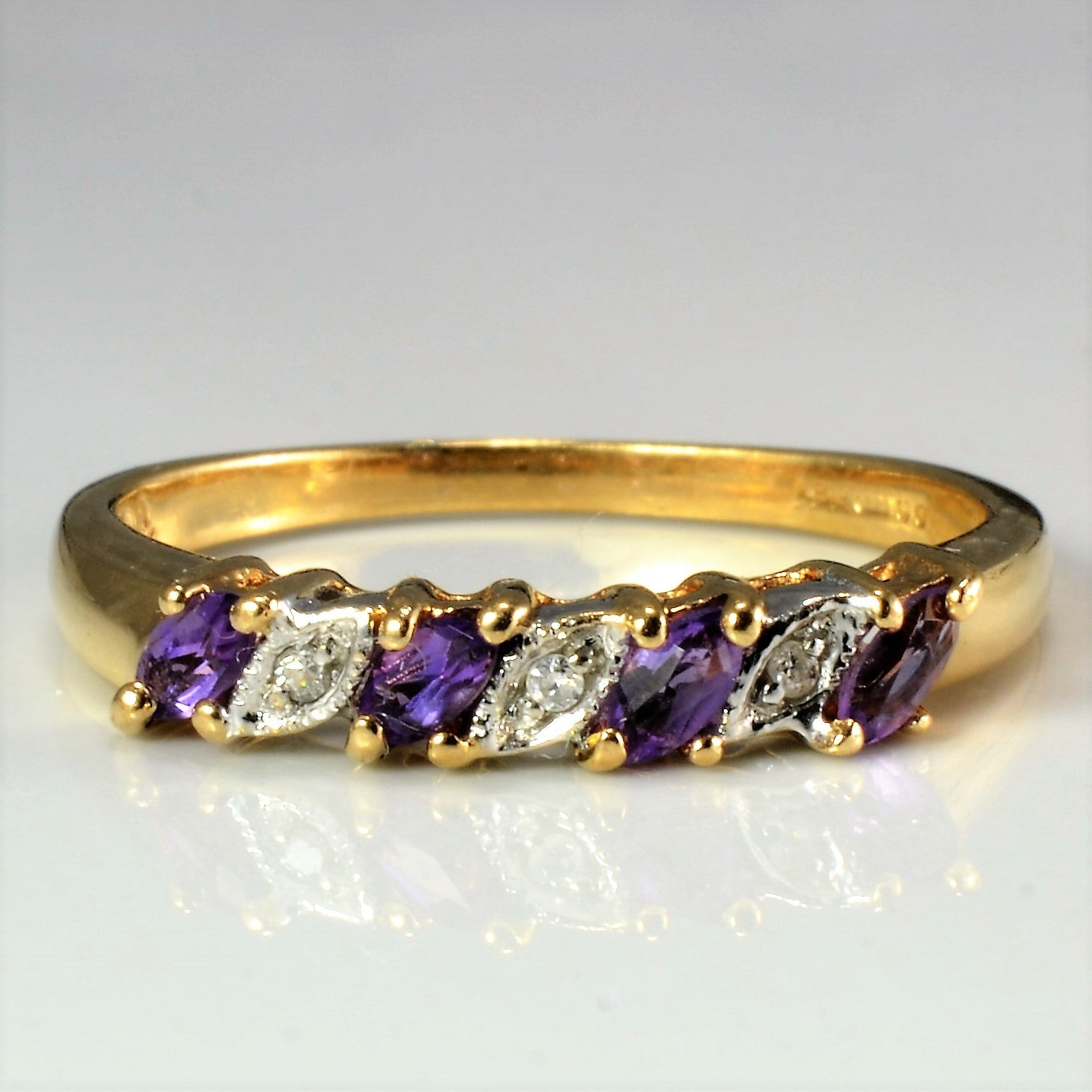 Seven Stone Amethyst & Diamond Ladies Ring | 0.02 ctw, SZ 8 |