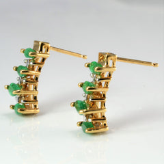 Emerald & Diamond Earrings | 0.06 ctw |