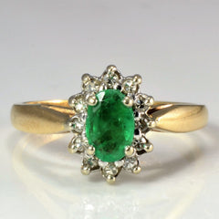 Cocktail Emerald & Diamond Ring | 0.12 ctw, SZ 6.25 |