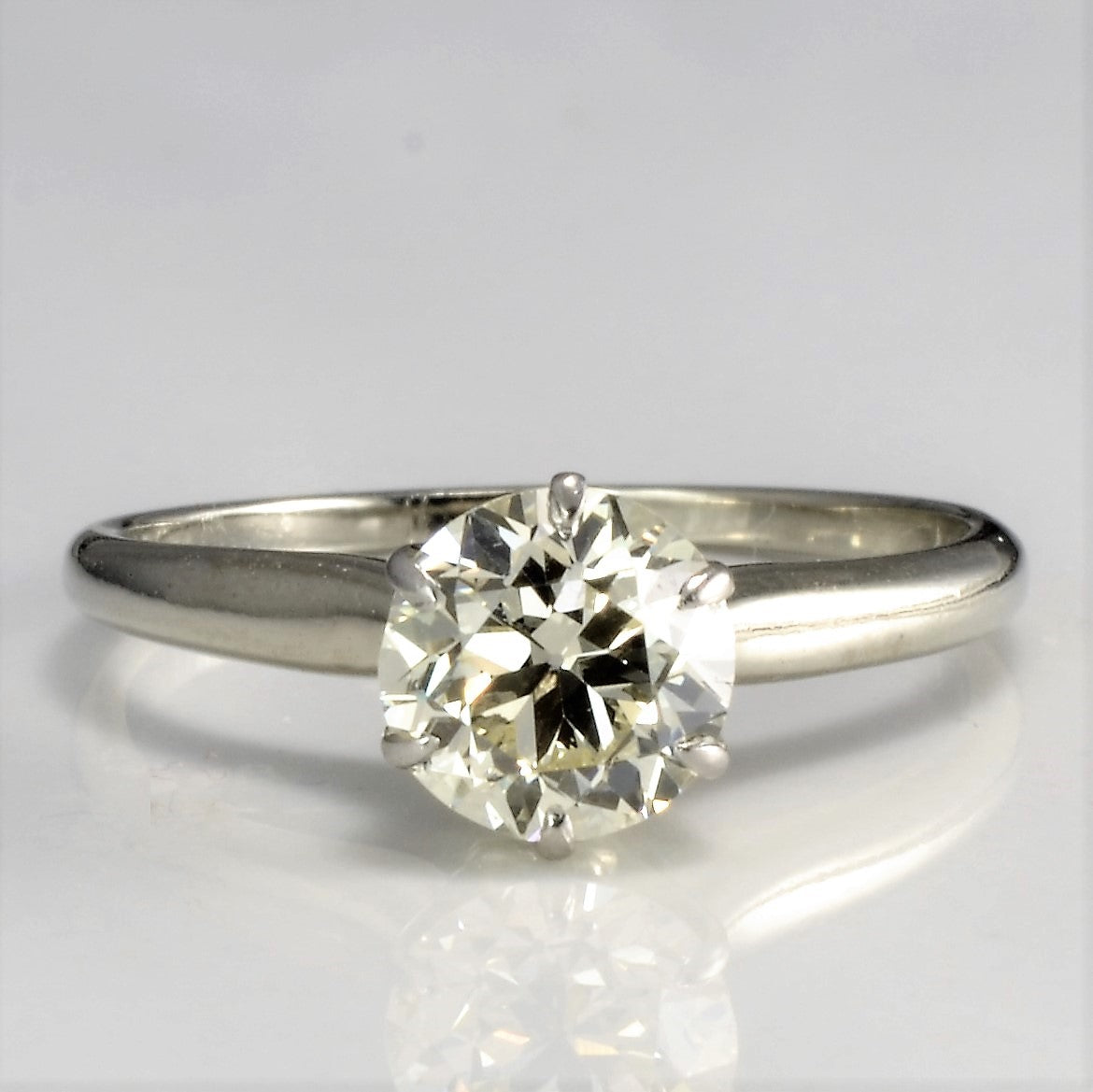 Vintage Solitaire Diamond Engagement Ring | 0.87 ct, SZ 5.25 |