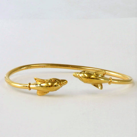 14K Gold Dolphin Wrap Bangle
