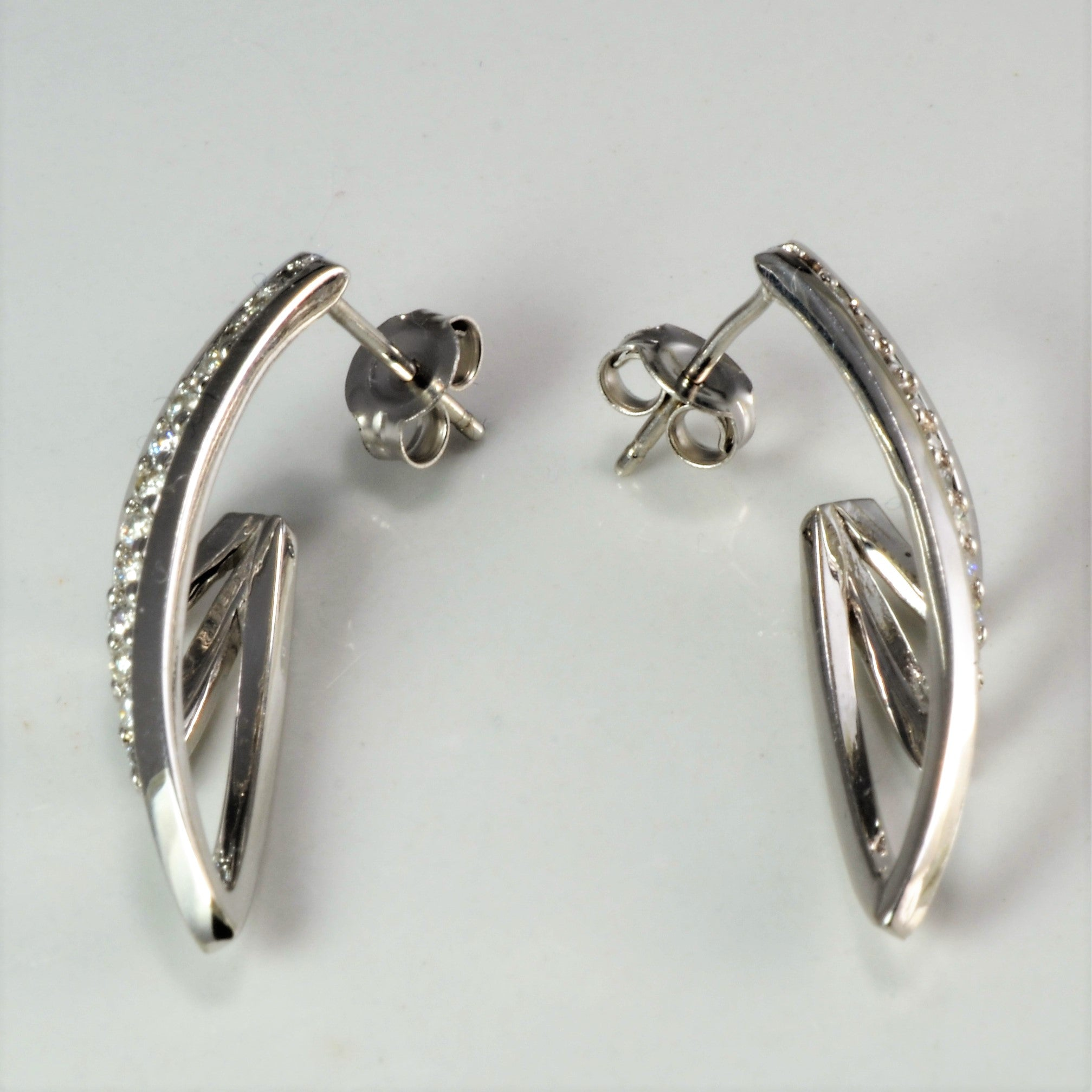 Pave Diamond Textured Earrings | 0.26 ctw |