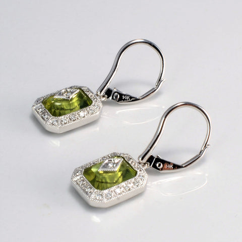 Milgrain Detailed Peridot & Diamond Earrings | 0.20 ctw |