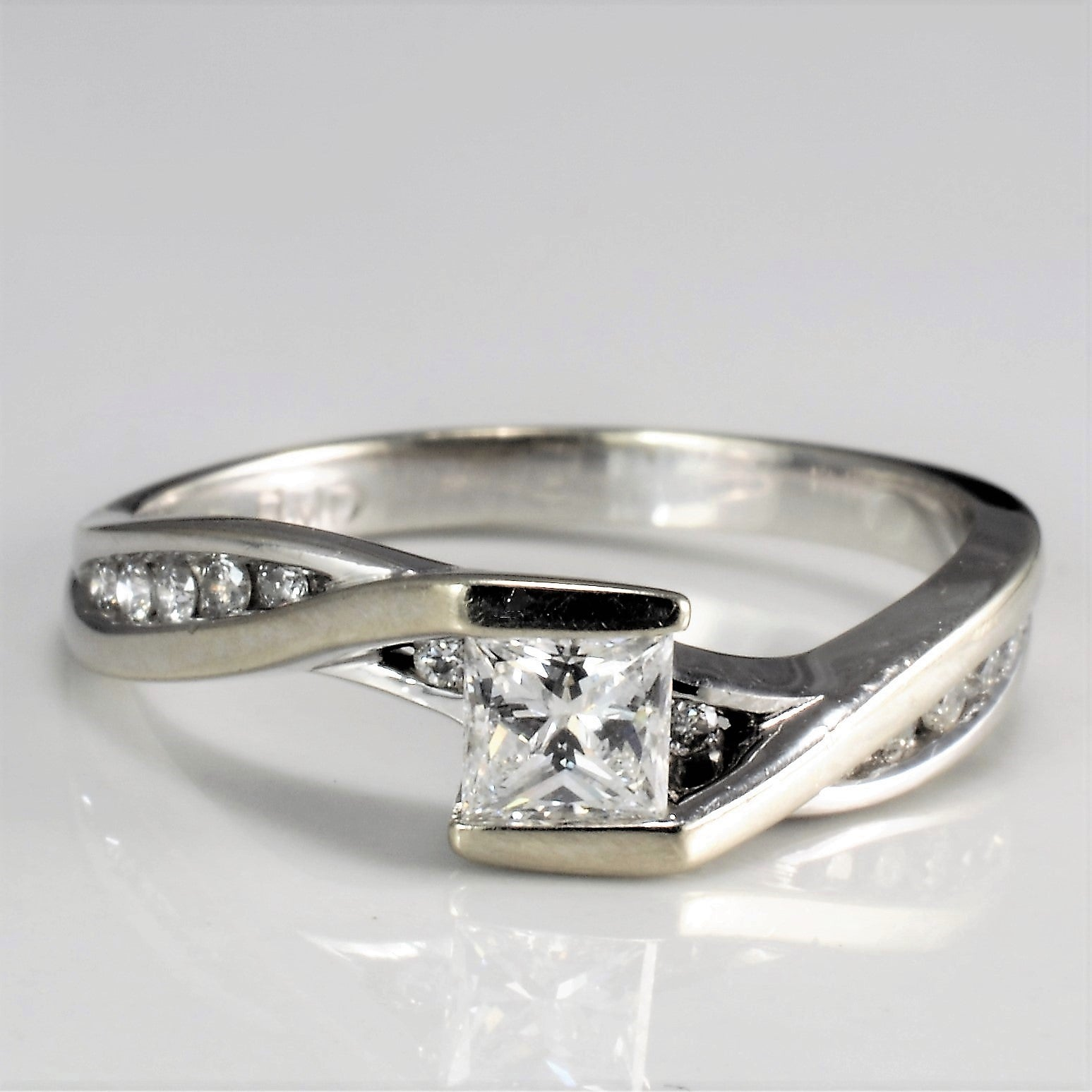 Semi Bezel Diamond Bypass Engagement Ring | 0.41 ctw, SZ 6.75 |